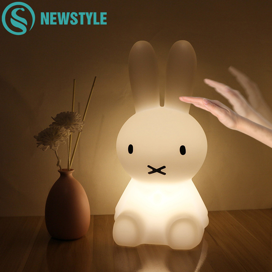 H28CM Dimmable Bunny Rabbit Lamp Led Night Light USB for Children Baby Kids Gift Animal Cartoon Living Room Decoration beiaidi 7 color usb rechargeable rabbit led night light dimmable animal cartoon light with remote baby kids christmas gift lamp