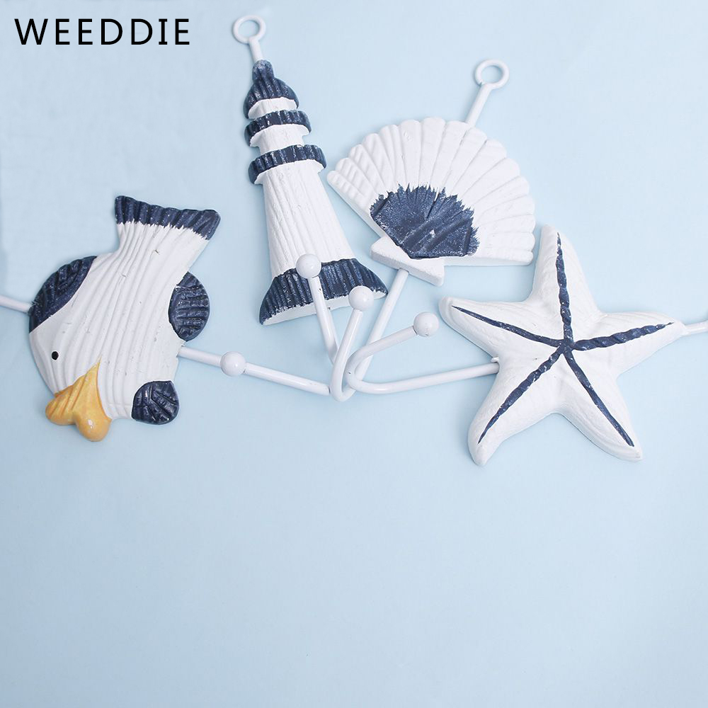 1 pieces Sea Sailing Boat Starfish Beacon Home Decor Bathroom Wall Hanger Hook