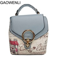 GAOWENLI 10 Colors Flower Print High Quality PU Leather Handbags Women Bags Designer Teenage Girls Fashion