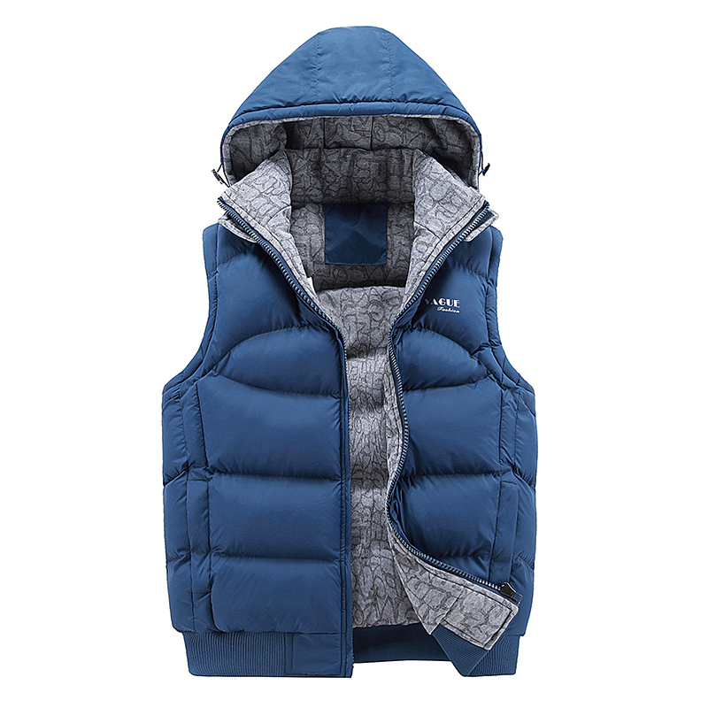 2018 Winter mens warm Hooded down vest Removable hat Sleeveless Jacket Thickening Cotton Vest Waistcoat male Casual zip coat Top