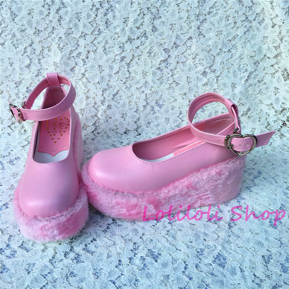 Princess sweet lolita Lolilloliyoyo antaina Japanese design shoes custom flat platform pink shoes with fur thick bottom 5236s-1 купить