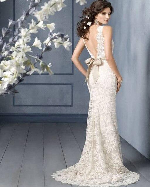 f796b089188 Abule 2016 V-образным вырезом рыбий хвост Белый кружева свадебное платье  Группа Новый русалка свадебное