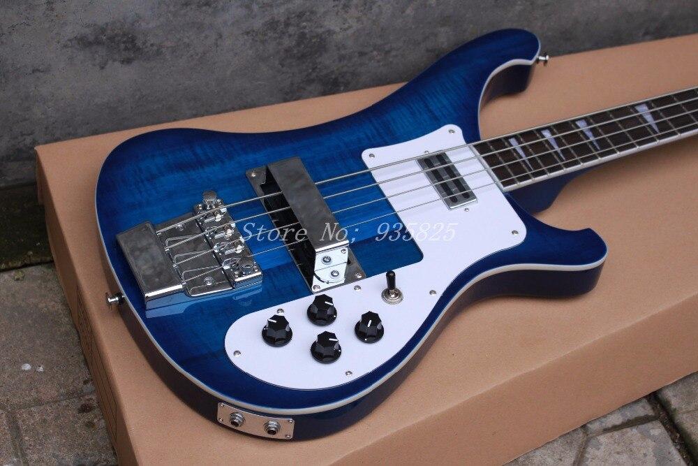 Nouvelle Arrivée Top Qualité Usine Personnalisé Bleu Rickenback 4003 personnalisé 4 cordes basse guitare ricken basse