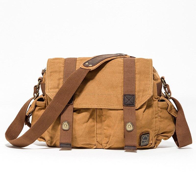 Canvas Crossbody Bag Military Shoulder Bags Vintage Messenger Bag Scholl Bag Tote Briefcase Bolsa Feminina