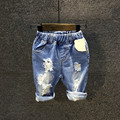 Hot sale 2017 children summer new shorts jeans Kids Boys casual washed distressed denim shorts 3-8 years !