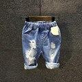 Venta caliente 2017 niños del verano nuevos cortos jeans Infantil Chicos casual washed apenada denim shorts 3-8 años!