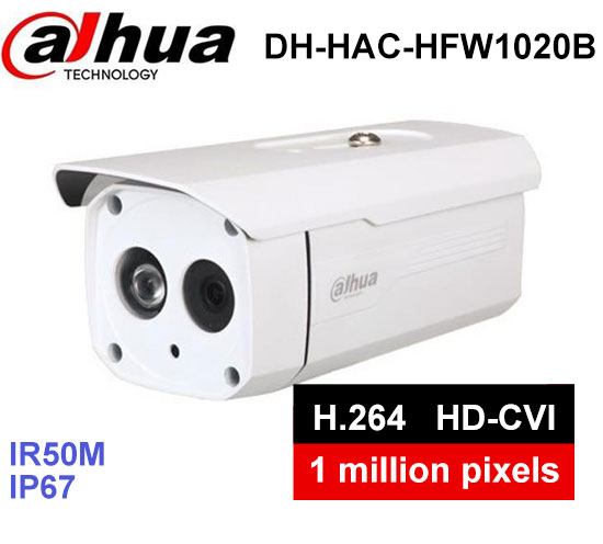 Dahua 1MP 720P DH-HAC-HFW1020B HDCVI camera Waterproof IP67 IR 50M Bullet Camera Security CCTV Camera HFW1020B dahua hdcvi 1080p bullet camera 1 2 72megapixel cmos 1080p ir 80m ip67 hac hfw1200d security camera dh hac hfw1200d camera