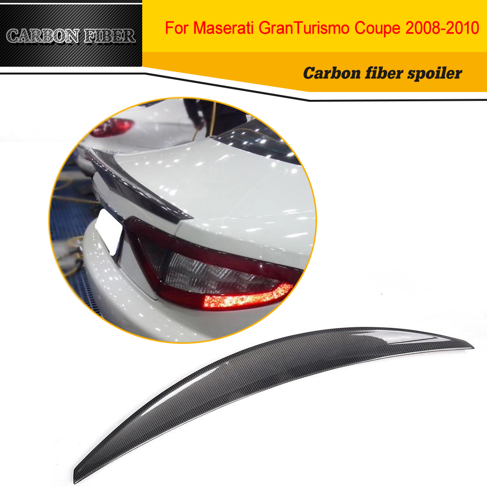 Carbon Fiber Racing Rear Spoiler Wing Lip for Maserati Gran Turismo GT 2 Door Flat Trunk 2006 2010 Non Convertible Black FRP