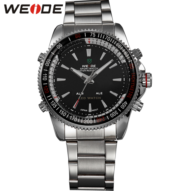 WEIDE Digital Analog LED Watch Dual Time Zones Display Date Alarm Functional High Quality 3ATM Waterproof Sports Watches For Men