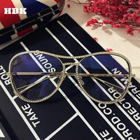 Luxury Women Decorative Rhinestone Sunglasses Brand Designer Copper Frame Points Sun Glasses Vintage Mirror Aviator Sunglass