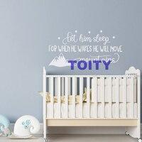 56*112 CM Laat Hem Slaap Wanneer Hij Wekt Hij Zal Bewegen bergen Citaat Kids Kinderen Baby Nursery Verwijderbare Decor Decal Stickers