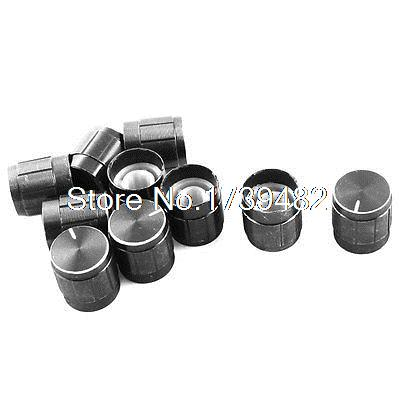 10Pcs Black Volume Control Rotary Aluminum Potentiometer Knobs 14mm x 15mm