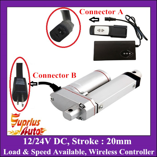 DC 12V or 24V 20mm Mini Electric Linear Actuator With Remote Control, 100/250/350/450/600/900/1000/1200/1500N Load Linear Motor