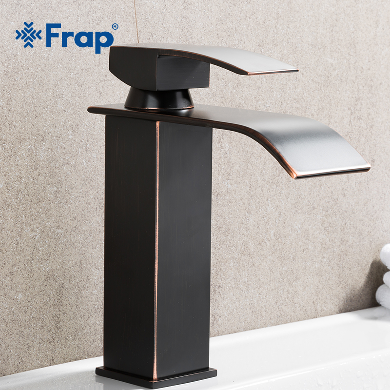 FRAP Deck Mounted Black Basin Faucet Brass Waterfall Bathroom Faucets Single handle Hot and Cold Water