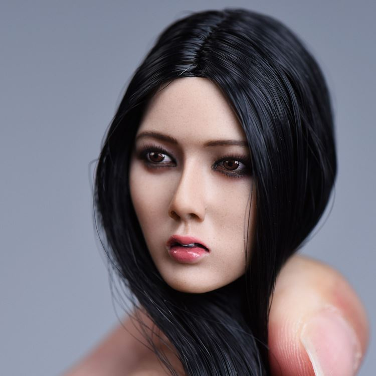 1 6 Asian Beautiful Women Head with Long Black Hair For 12 Bodies Toys Collections