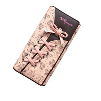 New Design Novelty Hot Sale Long Clutch Woment Wallet Laces Mobile Cell IPhone Change Coin Purse