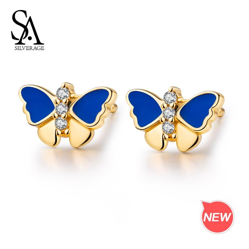 SA SILVERAGE 9K Yellow Gold Butterfly Stud Earrings for Women AAA Zirconia Earrings Animal Gold Stud Earrings Earrings Set pair of stylish rhinestone triangle stud earrings for women