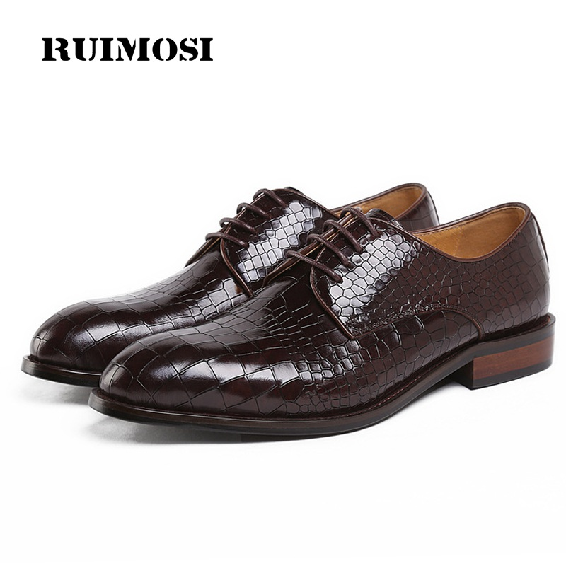 RUIMOSI New Formal Man Elegant Dress Shoes Genuine Leather Designer Oxfords Luxury Brand Round Toe Men's Handmade Footwear GK88