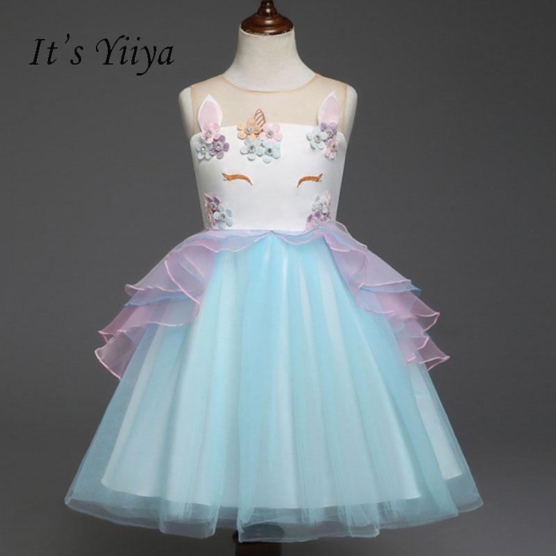 It's yiiya Illusion   Flower     Girl     Dress   Normal For Party Wedding   Girls     Dress   Kid Button Zipper Ball Gowns Kid   Girls     Dresses   S109