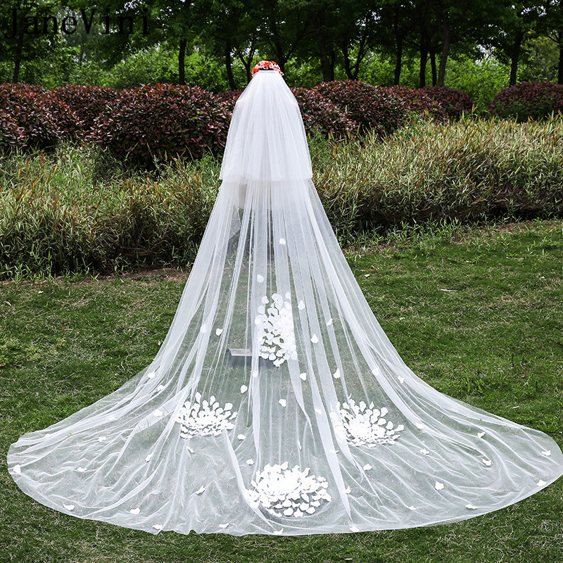 JaneVini 2019 Elegent Wedding Veil Two Layers 3D Flowers Cathedral Soft Tulle Long Bridal Veils with Comb Velo De Novia 3 Metros
