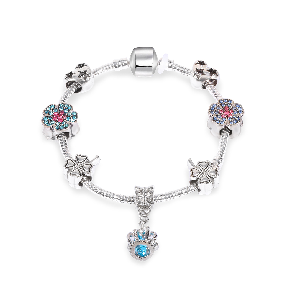 Endless Friendship Blue Crown Dangle With Clover Flowers Beads Charm  Bracelet Fit Brand Diy Making Jewelry
