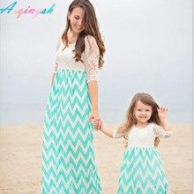 Мама Детские Одежда для мамы и дочки Обувь для девочек платье Семейные комплекты для мамы и дочки большой размер Кружево платья с длинным рукавом семейная одежда