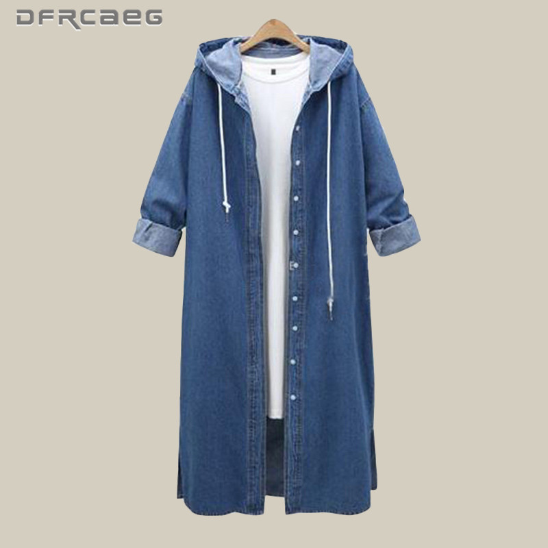 4XL Vintage Blue Hooded Denim Trench Coat Women 2018 Winter Fashion Jeans Long Coats Long Sleeve Plus Size Outwear Clothes