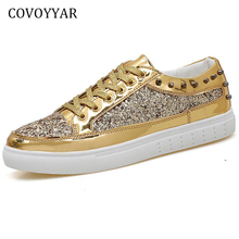 COVOYYAR Casual Unisex Shoes 2018 Spring Autumn Shining Glitter Women  Sneakers Patchwork Lover Shoes Trainers Size. 3 Colors Available 6abf5b1a5e1a