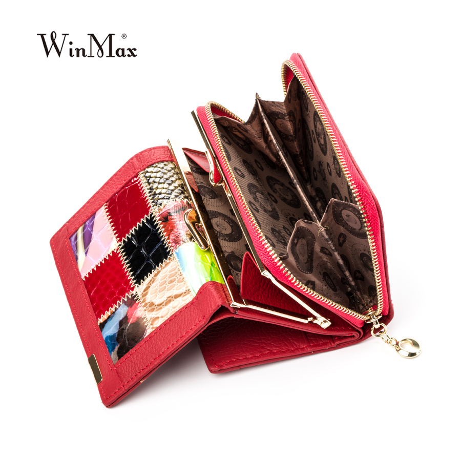 Factory Outlet Winmax Women Luxury Brand Fashion Genuine Leather Patchwork Wallet Women Small Purse Female Short Design Wallets