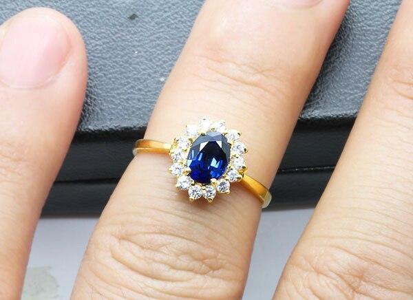 Echte 18 Karat Gelbgold Ring natürlichen Saphir Edelstein edlen - Edlen Schmuck - Foto 3