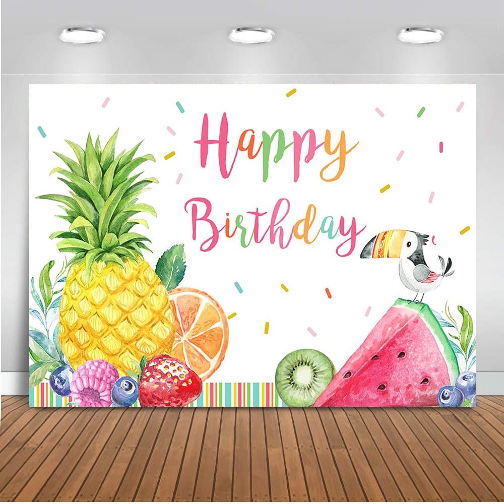 Fruit Backdrop Happy Birthday Theme Party Decoration