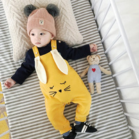 Newborn Winter Cashmere Baby Pants Baby Girl Rabbit Ears Thick Fleece Lined Cotton Pants Baby Boys Winter Pants Jumper Overalls