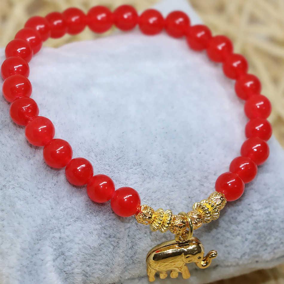 """6 מ""""מ כהה אדום טבעי אבן jades שוהם עגול חרוזים לעטוף צמיד זהב-צבע פיל תליון נשים תכשיטי 7.5 אינץ B1948"""