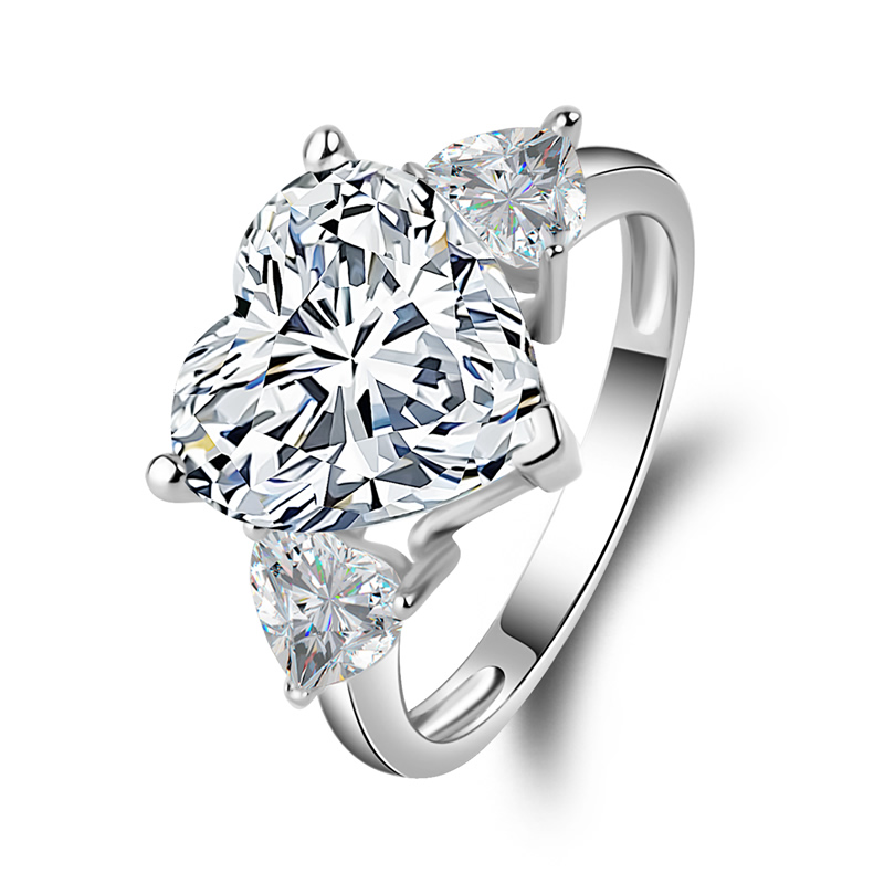 AINUOSHI Big 5 ct Heart 3 Stones Ring 14K Solid White Yellow Gold Heart Cut Sona