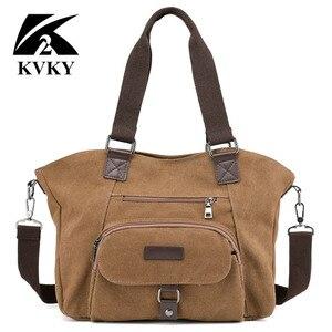 Image 4 - KVKY marka kadın keten çantalar çanta rahat kanvas omuz çantaları Vintage çapraz postacı çantası kadın bez çantalar trapez
