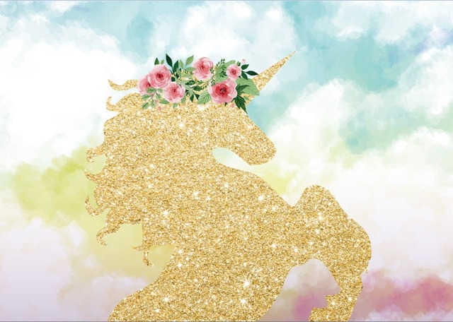 7x5ft Aquamarine Clouds Sky Gold Unicorn Pink Flowers Baby