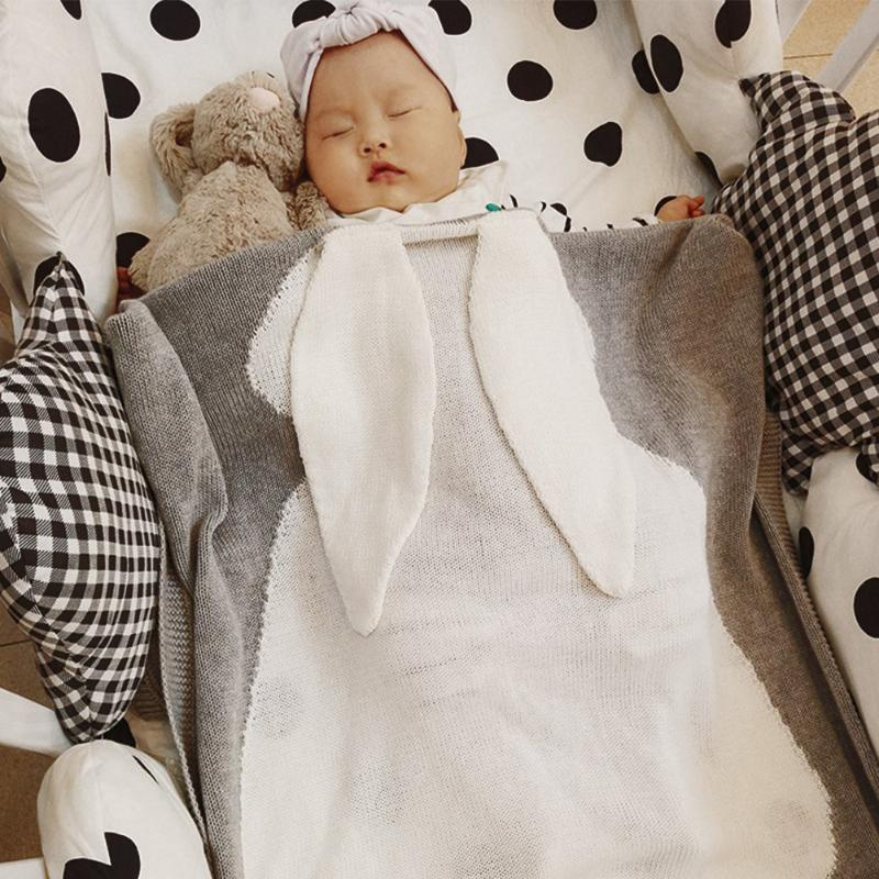 Cute Baby Blankets Winter Soft Warm Infant Baby Bedding Sleep Cover Long Rabbit Ears Swaddle Warp Hug Blanket Kids Bathing Towel printed knitted baby blanket kids adults infant throw knit blankets bed cover plaids sofa towel blanket size 110 130cm