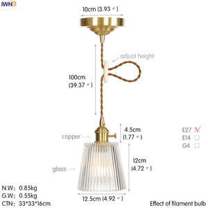 Image 2 - IWHD Copper Nordic Glass Pendant Light Fixtures Dinning Living Room Hanging Lamps LED Pendant Lighting Lampara Colgante Lampen
