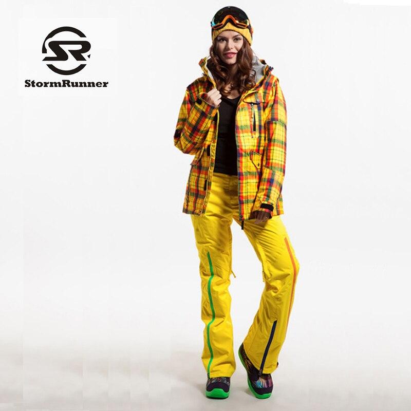 Guarantee Authentic! StormRunner Women Ski Suits Jacket+Pants Set Water-Proof Thermal Cottom- Padded Snowboard Women's Ski Sets