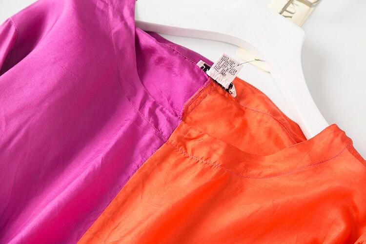 Larga Grande orangerosepink Manga Seda Con Talla Vintage Natural Mujer De Redondo Ol purple Black Vacaciones Mujeres Para Cuello Elegantes Pura Blusas Tops Blusa Hw1UPqxnw