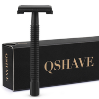Qshave IT Matte Black Steel Coating Safety Razor Long Handle Butterfly Open Classic Safety Razor 11.4 x 4.3 weishi with 5 blades Razor