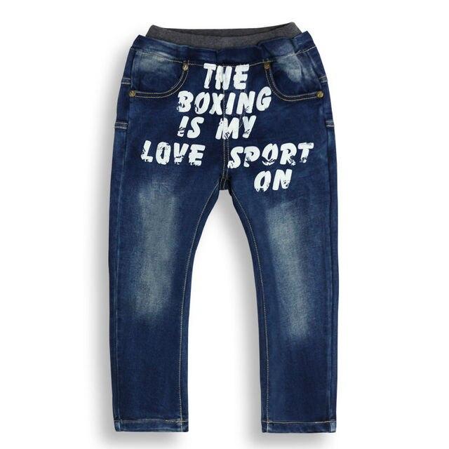 Мальчики Регулярные простой стиль печатных Letter pattern Джинсы мальчиков Синие брюки с карманами серый эластичный пояс XML-J7006