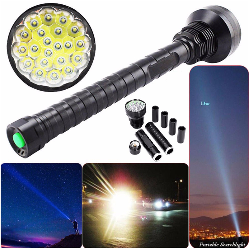 New 28000LM CREE XM-L LED 21x T6 Super Flashlight Torch Lamp Light 5Mode Flashlight With 26650 or 18650 Rechargeable Batteries super powerful 28 x xm l t6 led 45000 lm 5 modes flashlight torch lamp tactical light large capacity battery 18650 26650