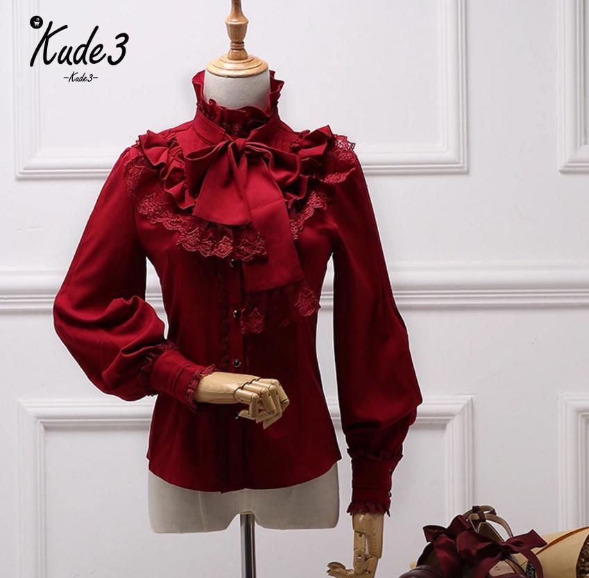 Vintage LOLITA Wine Red Black Blue White Long Sleeve Chiffon Shirt Women Stand Collar Elegant Blusas Female Gothic Blouse 8446