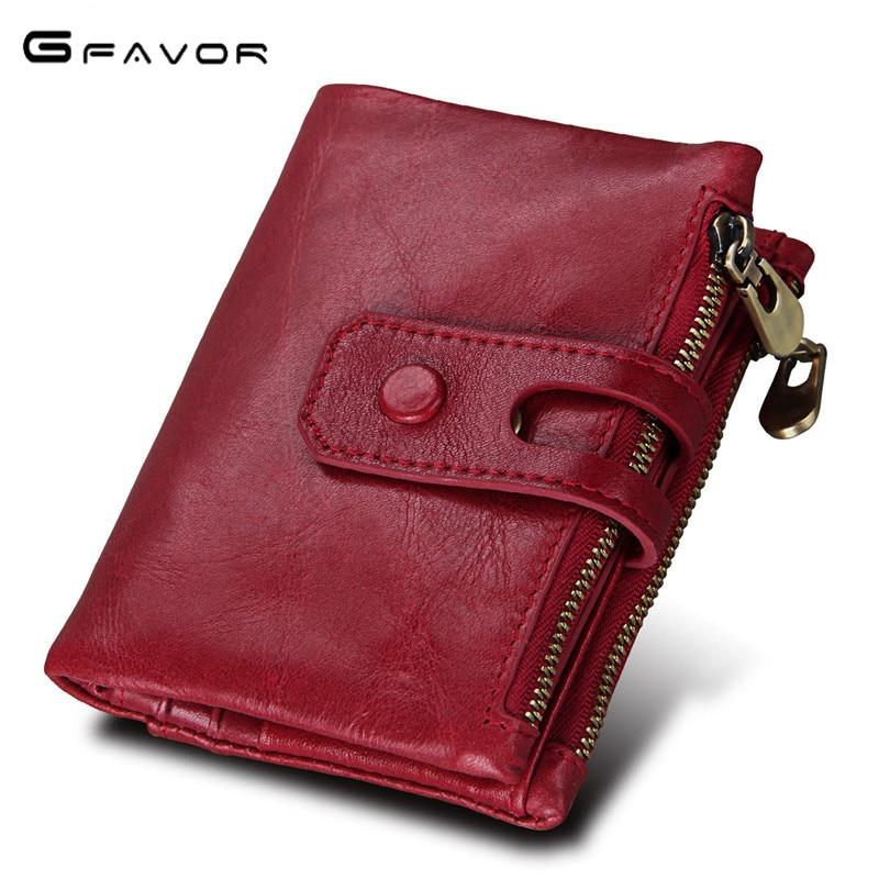 G-FAVOR Genuine Leather Women Wallet Female Purse Small Walet Portomonee for Lady Hasp Zipper Money Bag Zipper Card Holder Perse