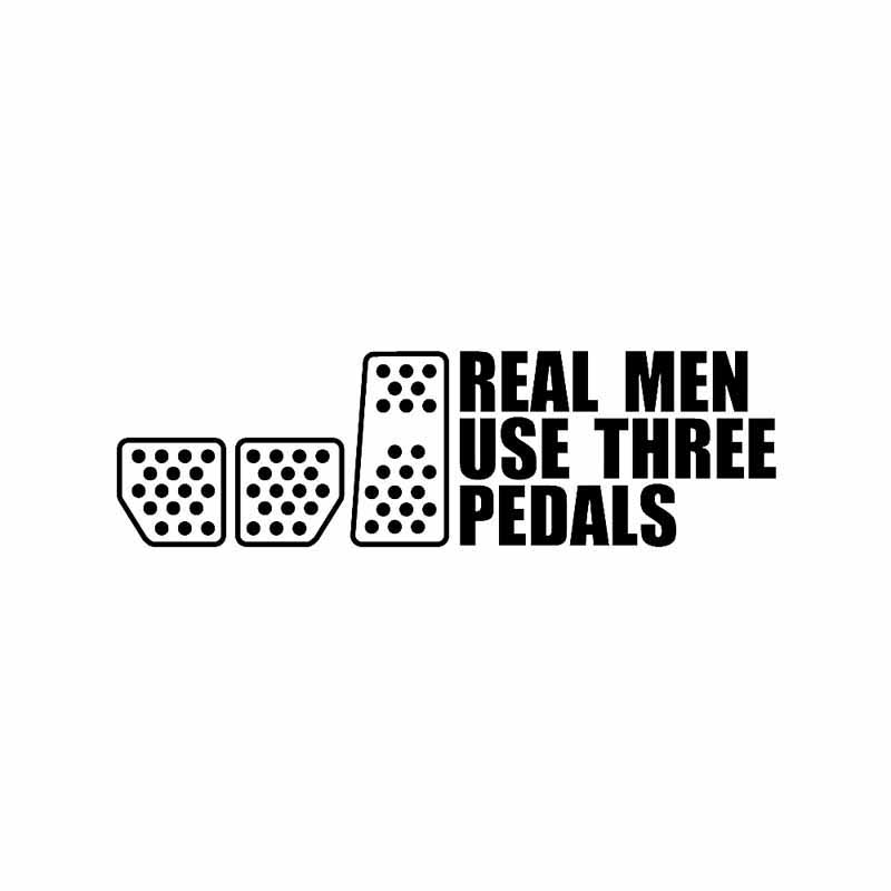19.8CM*5.7CM Real Men Use Three Pedals Vinyl Decal Car Sticker Drift Racing Clutch Vinyl Decals image