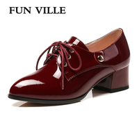 FUN VILLE British style 2018 spring woman pumps Patent leather Work shoes for women Sexy Mature Ladies shoes lace up size 34 43