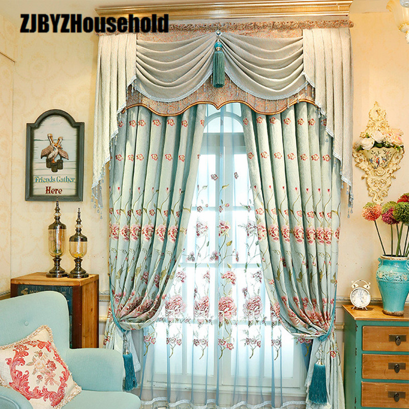 2018 New Curtains For Dining Living Bedroom Room High-class European-style Chenille Embroidery Shading Fabric Valance