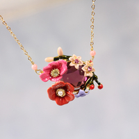 Winter Garden Series Enamel Enamel Color Flower Crystal Plating Gold Necklace Clavicle Chain Woman Fashion Jewelry