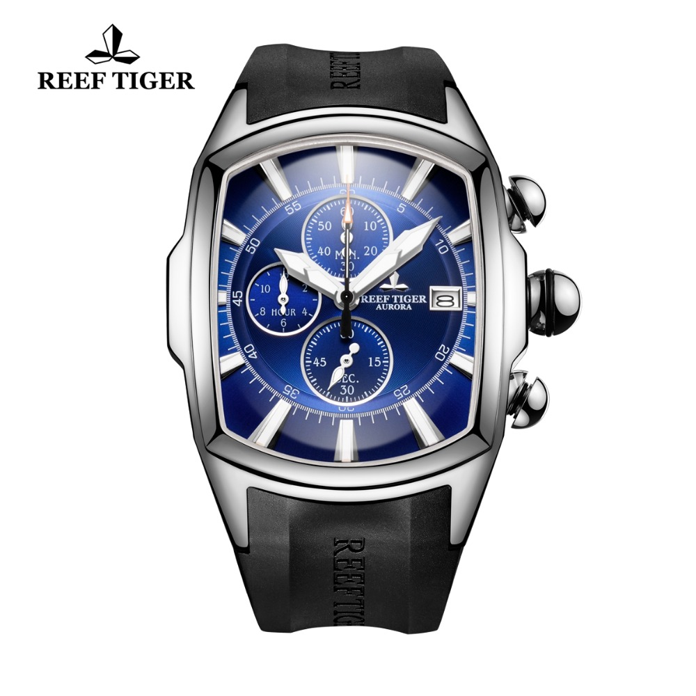 Reef Tiger/RT Big Sport Watches with Date Rubber Strap Steel Blue Dial Mens Watch Chronograph Waterproof Watches RGA3069-T 機械 式 腕時計 スケルトン